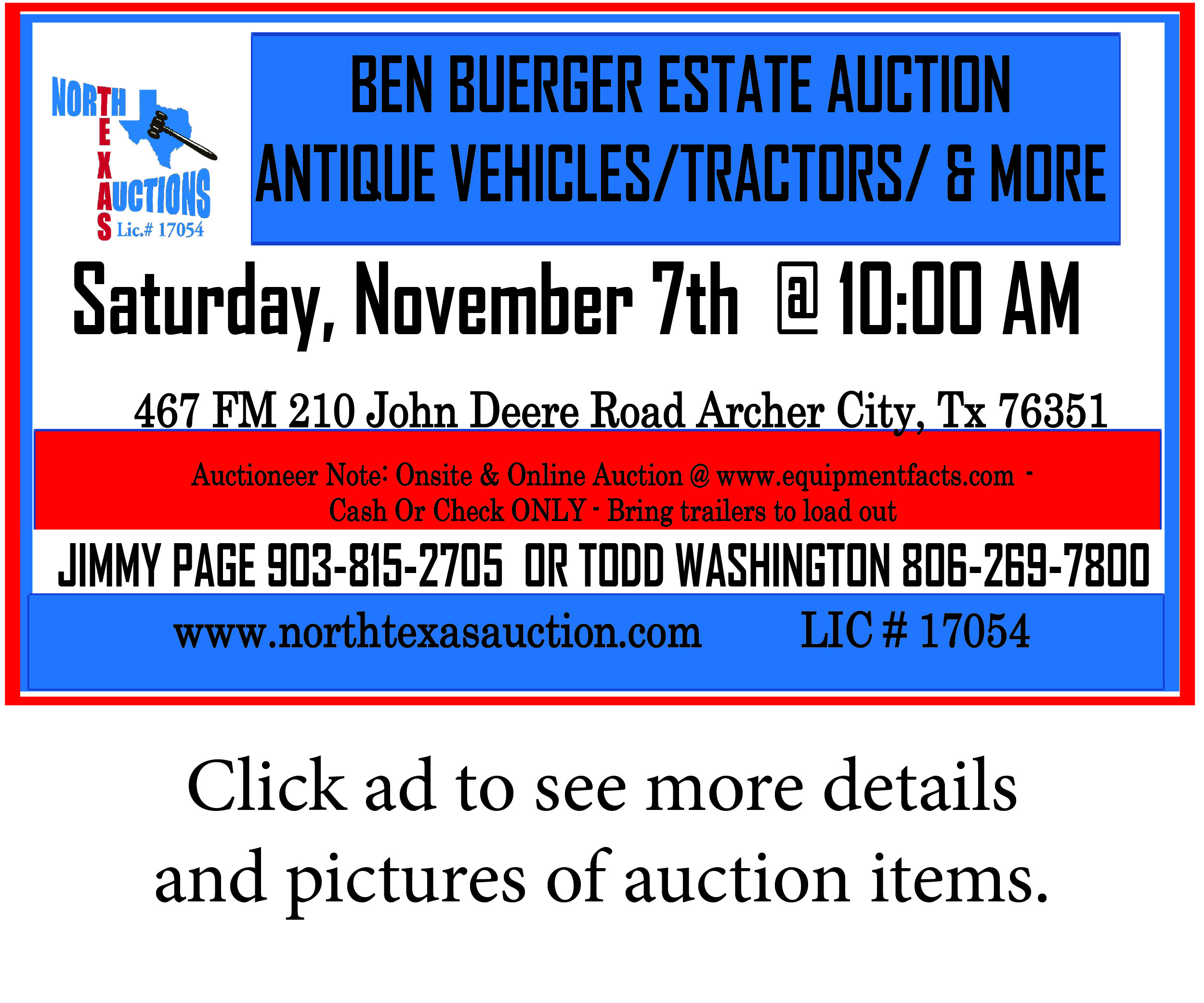 Ben Buerger Estate Auction Advertisement