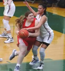Holliday senior Abby Turner drives to the hoop in the fourth quarter of the Lady Eagles' 48-32 loss to Jim Ned in the area round on Saturday, Feb. 20, in Breckenridge. Photo/Will Edwards