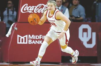 Former Windthorst Trojanette Tatum Veitenheimer is prepared to lead the Oklahoma Sooners in her junior season as the team's point guard. Courtesy photo/OU Athletics