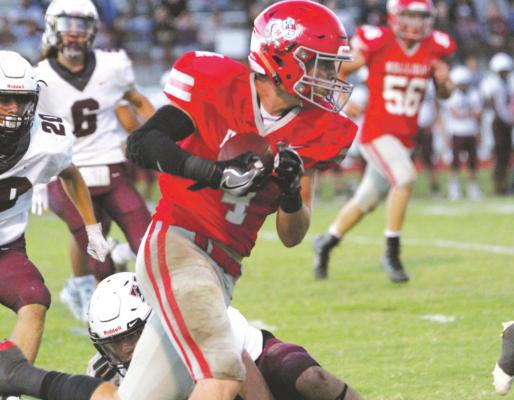 Crae Jackson runs with the ball in the Holliday Eagles second half comeback against the Vernon Lions Friday, Sept. 11. Courtesy photo/Jolene Styles