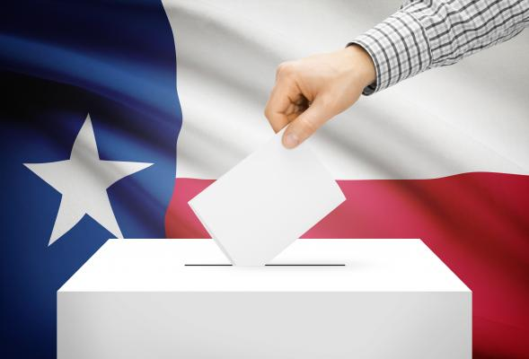 ballot box and texas flag springer tops luther