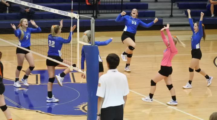 Windthorst celebrates a point in the second set of the Trojanettes 3-0 win over Petrolia on Tuesday, Sept. 29.