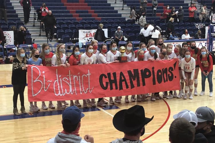 Holliday celebrates its bi-district championship following a 3-0 sweep of Eastland on Thursday, Oct. 29, in Graham. The Lady Eagles meet either Wall or Odessa Compass Academy in the area round. (Courtesy Holliday ISD Twitter)