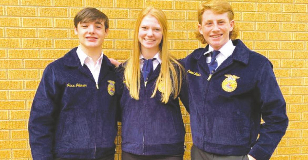 The Holliday ISD Radio Broadcasting team of Jaxx Johnson (left), Creed Jackson (right) and Campbell Jurecek (middle) placed second and will advance to the area competition Courtesy photo/Holliday FFA